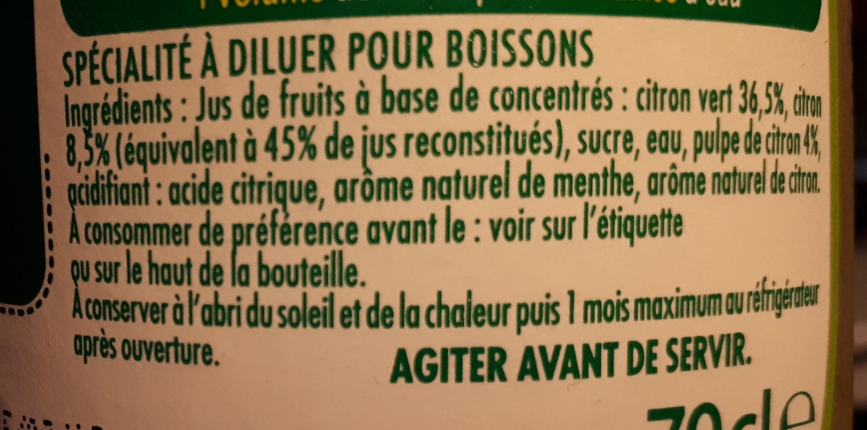 Pulco citron vert et menthe - Ingrediënten