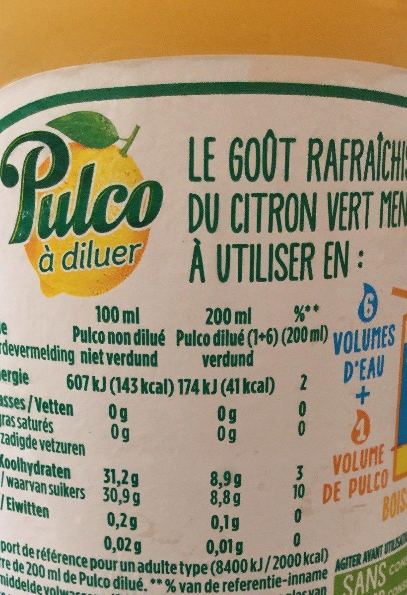 Pulco citron vert et menthe - Voedigswaarden