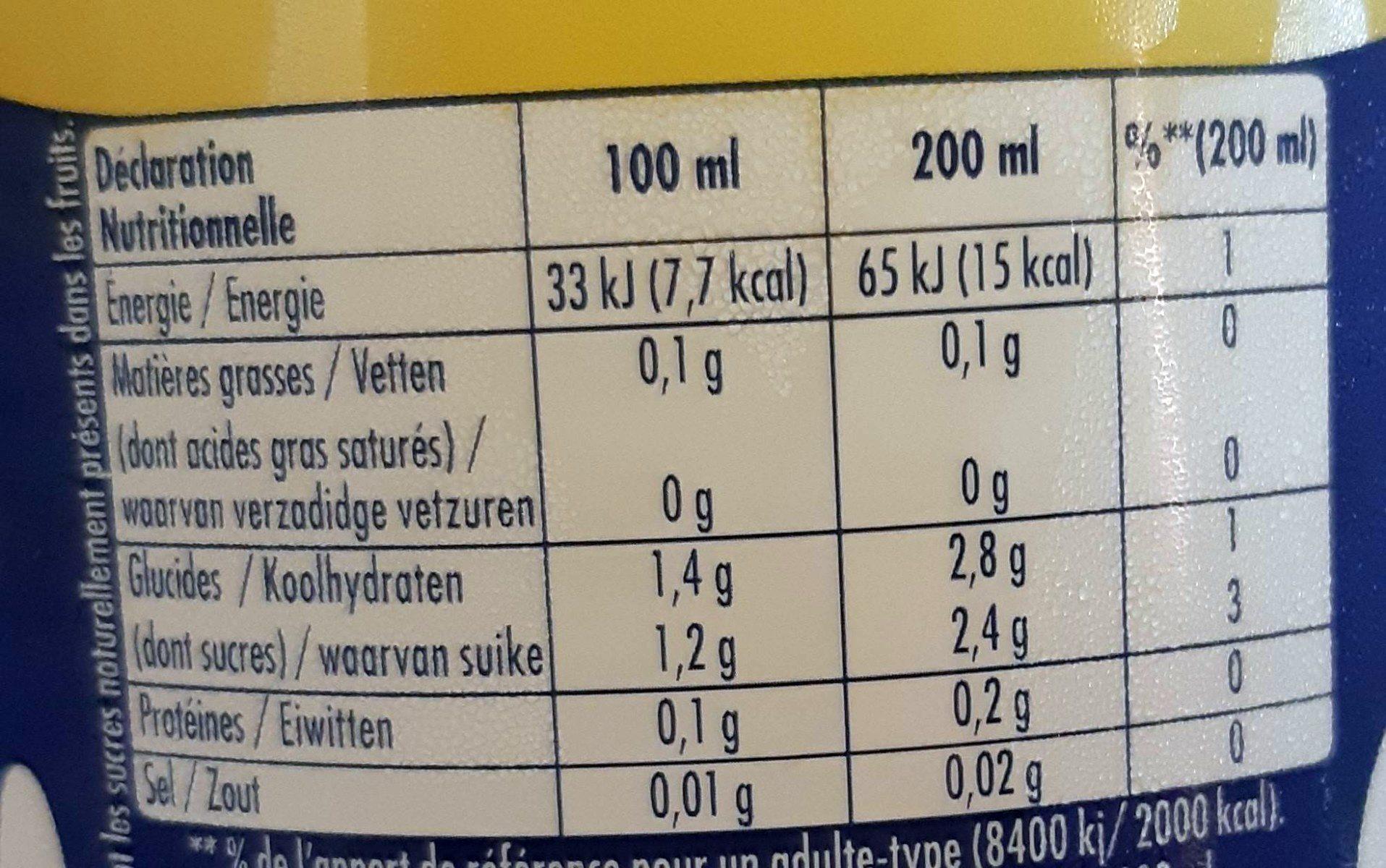 Orangina light - Informations nutritionnelles
