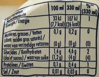 Orangina zero slim - Voedingswaarden