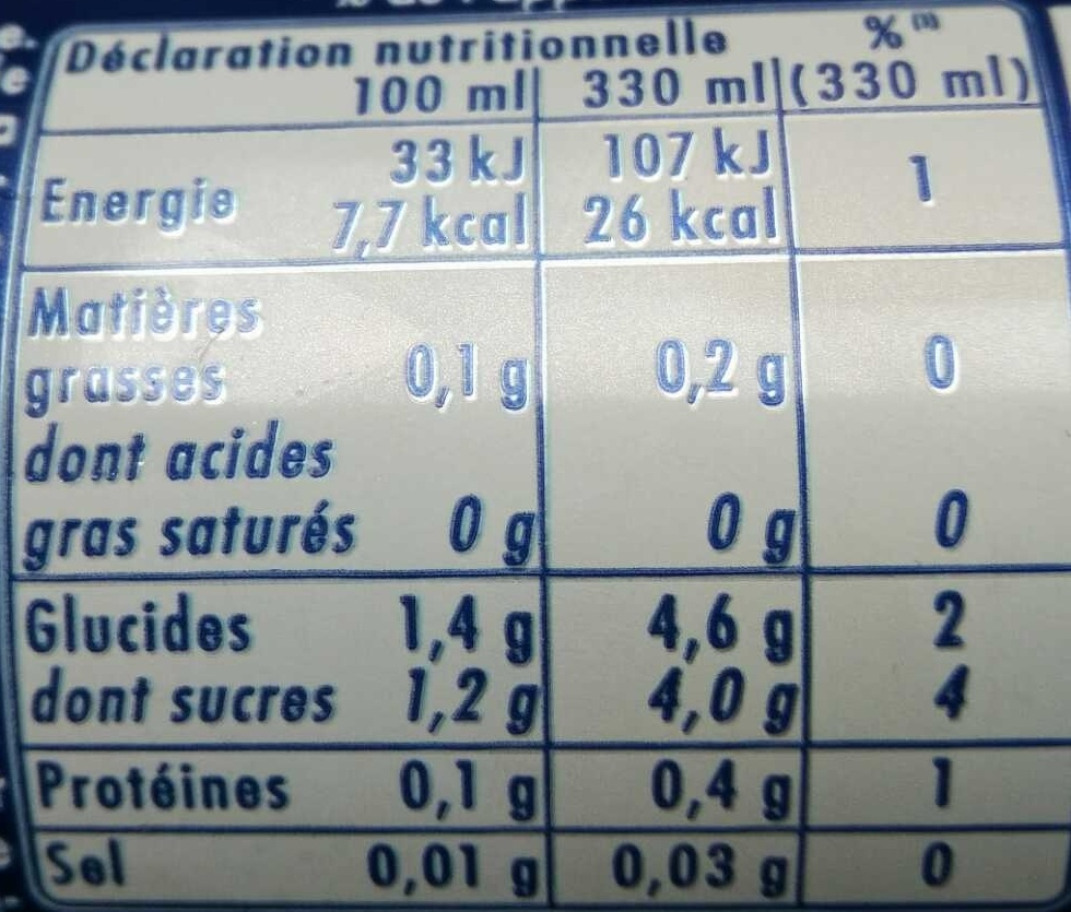 Orangina zero - Informations nutritionnelles - fr