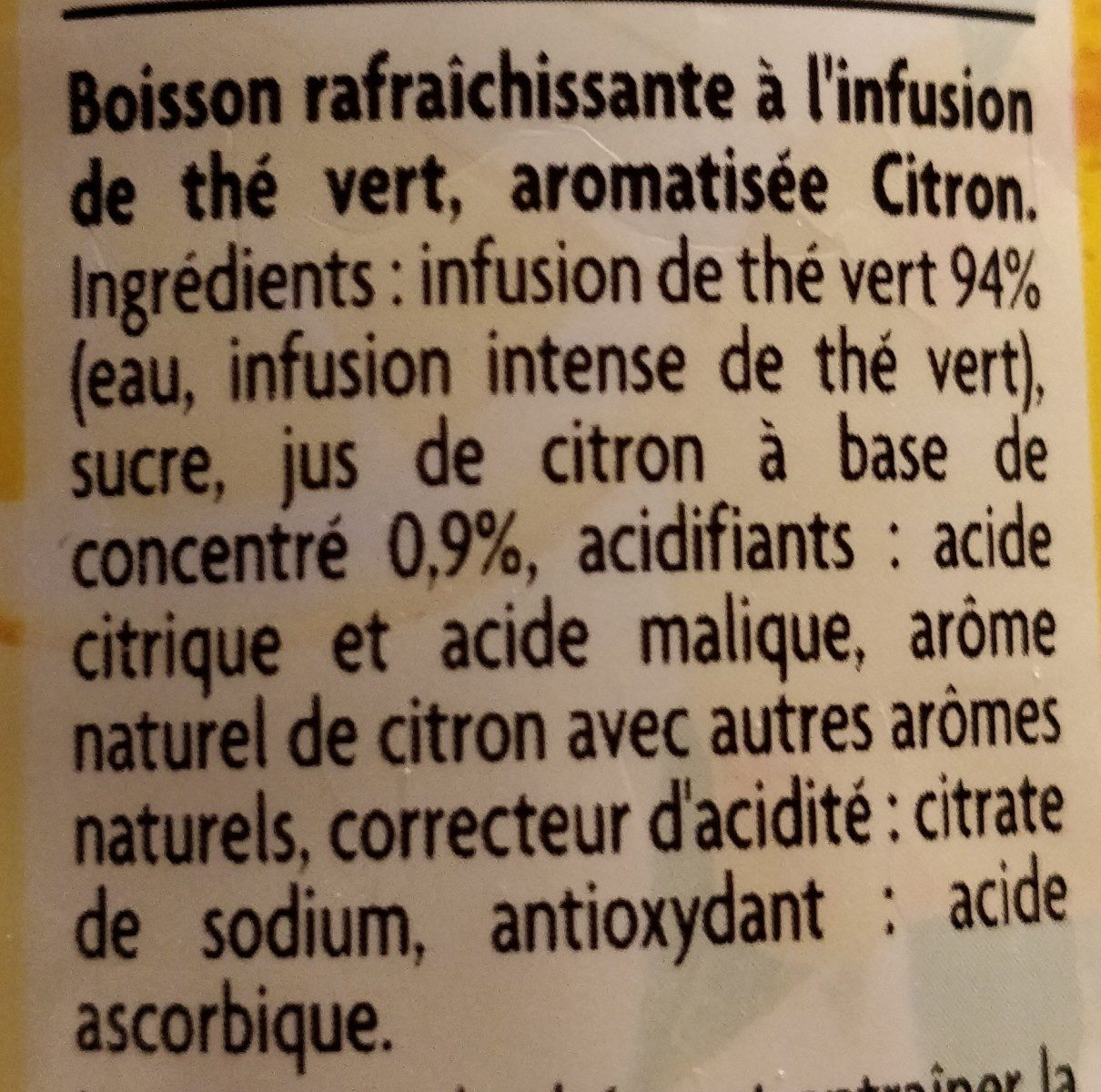 Thé infusé glacé parfum citron - Ingredients