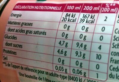 Thé infusé glacé, Thé blanc parfum framboise - Nutrition facts