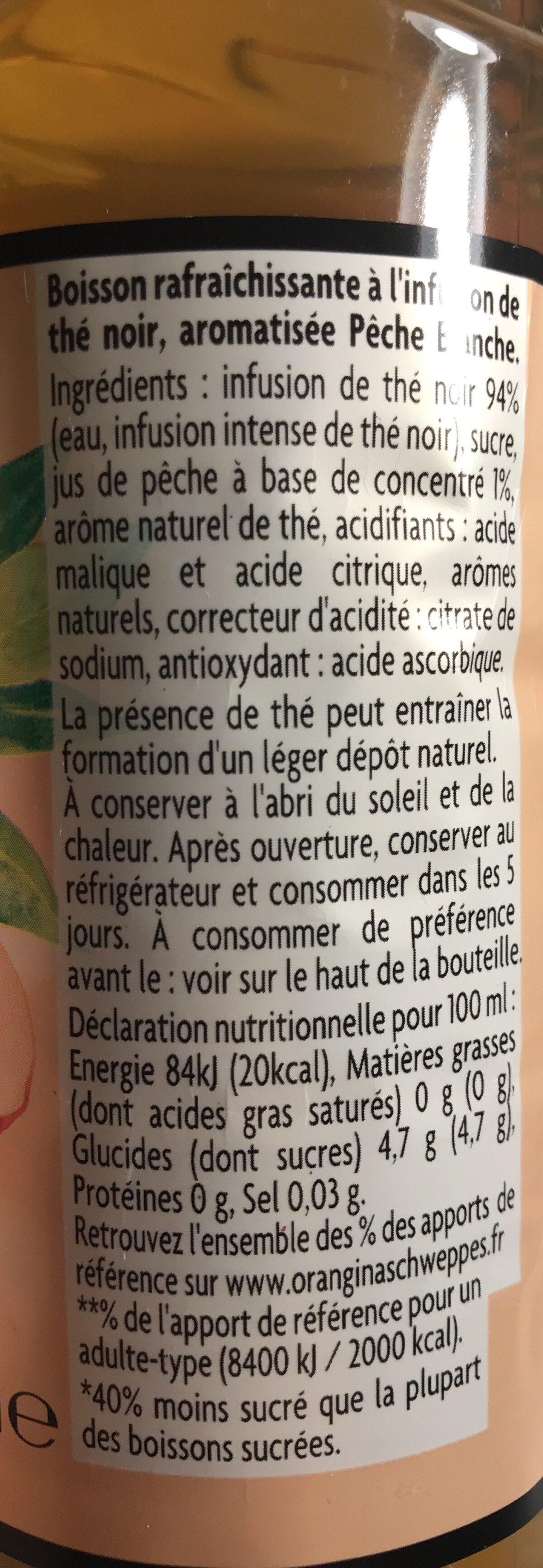 Thé infusé glacé Thé noir Pêche Blanche - Ingrediënten - fr