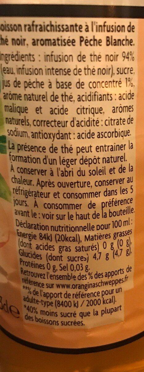 Thé infusé glacé Thé noir Pêche Blanche - Voedingswaarden - fr
