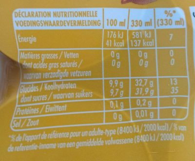 Oasis orange - Informations nutritionnelles