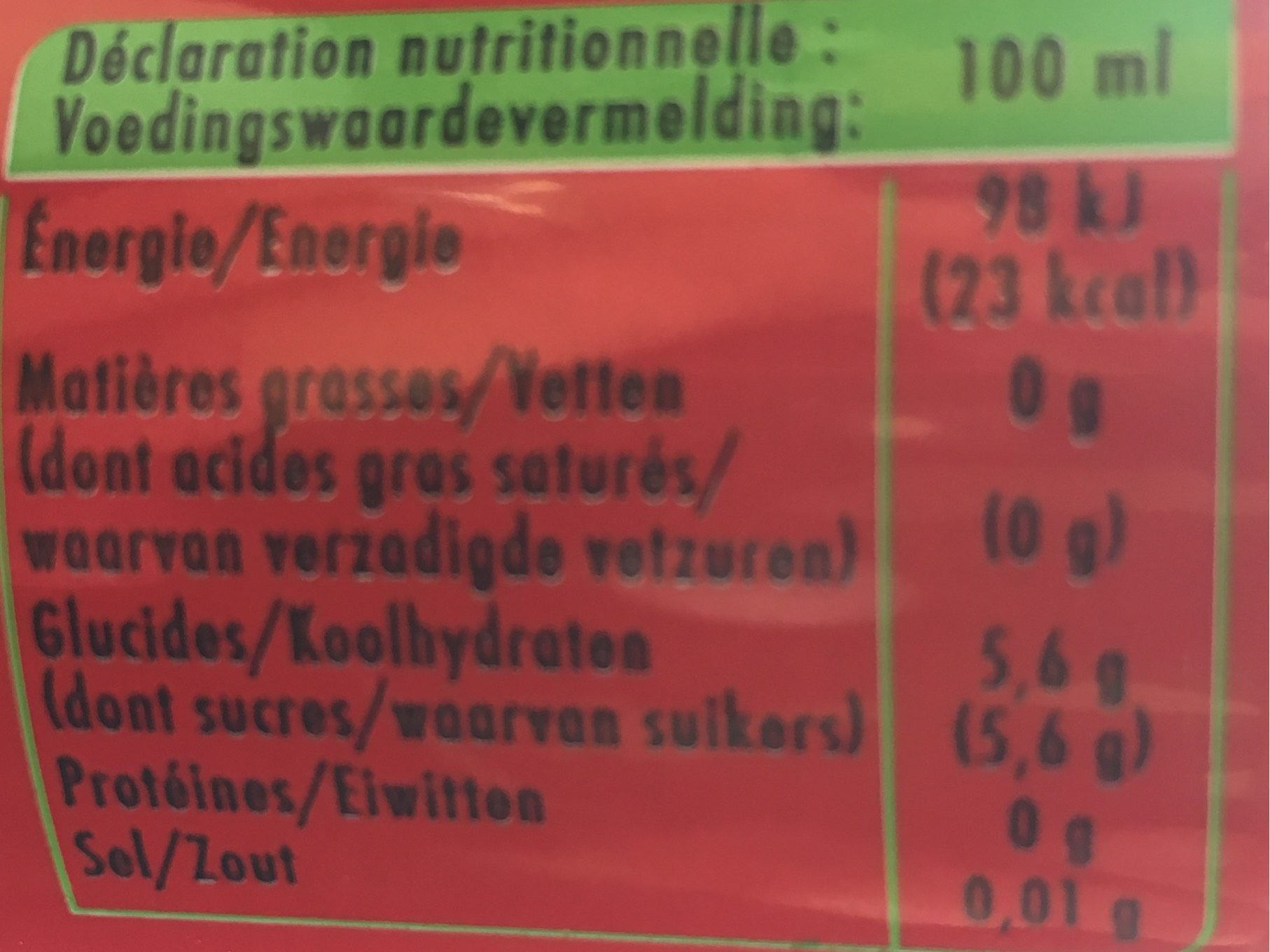 Schweppes pomm' - Informations nutritionnelles