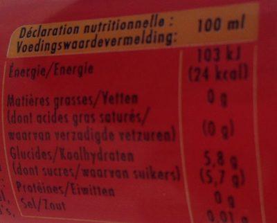 Schweppes agrum' - Voedingswaarden - fr