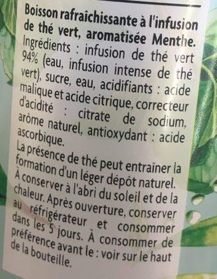 Thé infusé glacé, Thé vert parfum menthe - Ingrédients