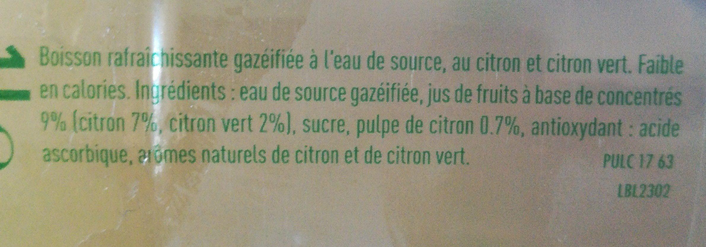 Pulco fines bulles Citron Citron vert - Ingrédients