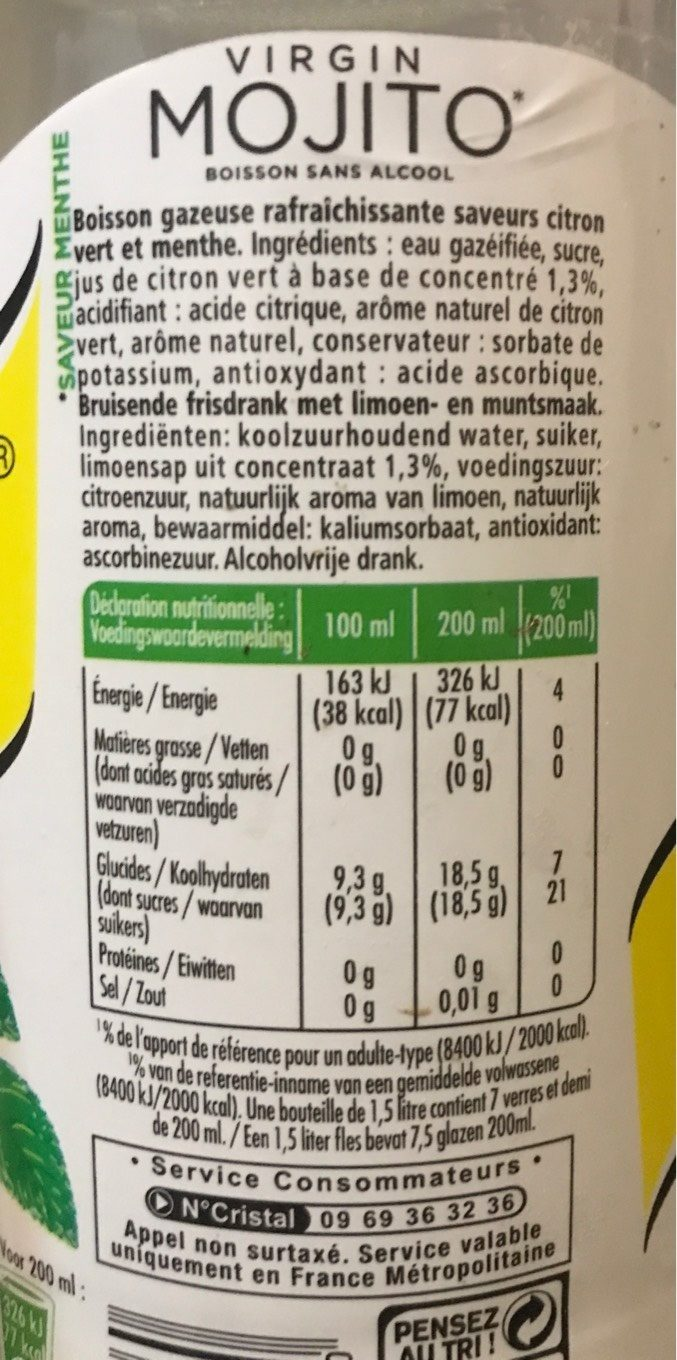 Schweppes virgin mojito - Informations nutritionnelles - fr