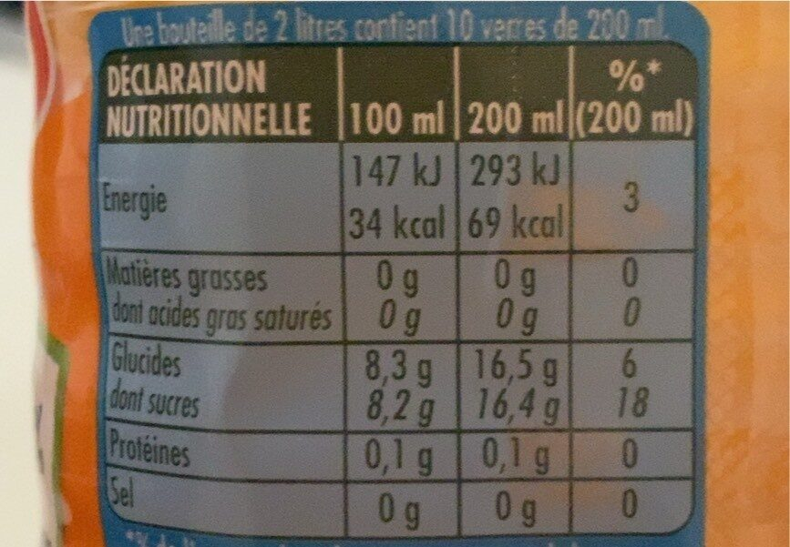 Oasis tropical - Nutrition facts - fr