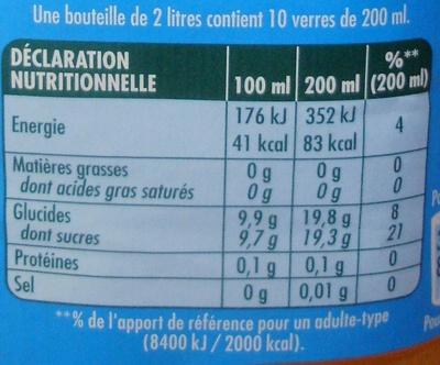 Orange à l'eau de source - Valori nutrizionali - fr