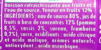 Oasis pomme-cassis framboise - Ingrédients