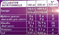Oasis pomme-cassis framboise - Informations nutritionnelles