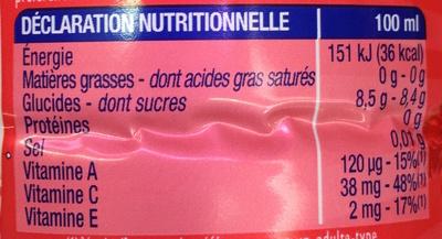 Orange Fraise - Informations nutritionnelles