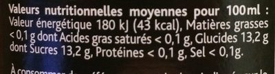 Cocktail sans alcool aux arômes cerise - 营养成分 - fr