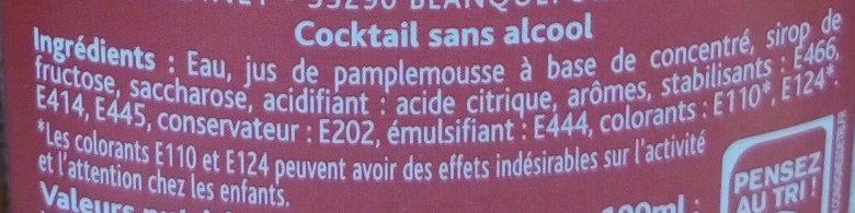Mister Cocktail aux arômes rosé pamplemousse - Ingrédients
