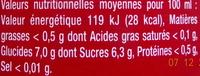 D'Artigny, Cocktail Royal, framboise - Informations nutritionnelles - fr