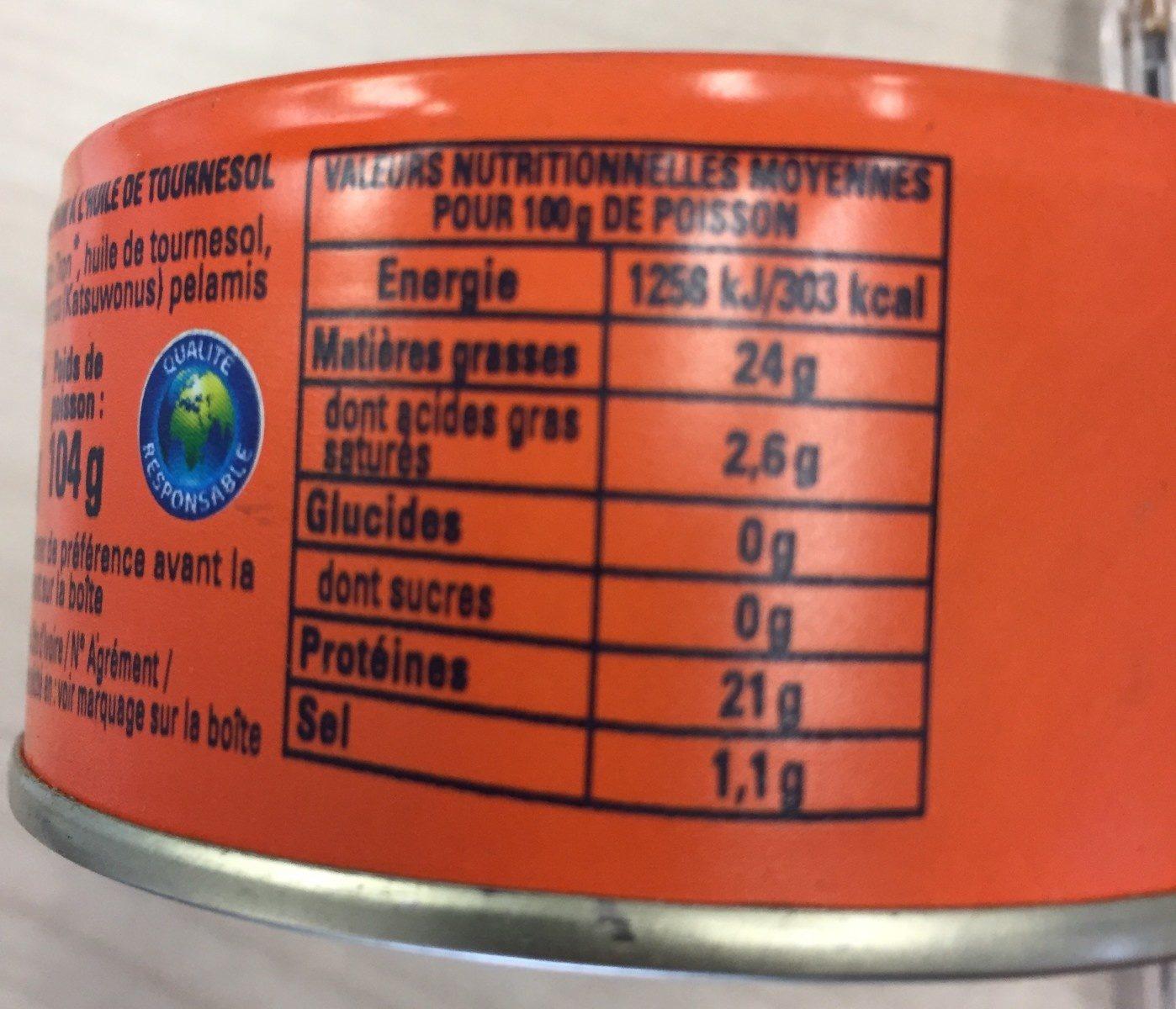 Miettes de thon à l'huile de tournesol - Voedingswaarden - fr