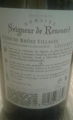 Séigneur de Renouard - Ingrediënten