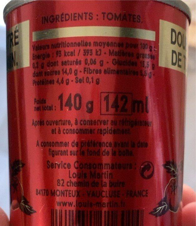 Double concentré de tomates 28% min. - Informations nutritionnelles - fr