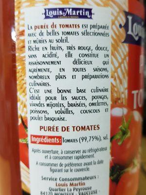 Purée  de tomates Louis Martin - Ingrédients
