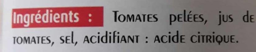 tomates entières pelées au jus - Ingrédients - fr