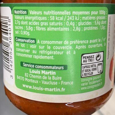 Louis Martin Arrabiata - Informations nutritionnelles - fr