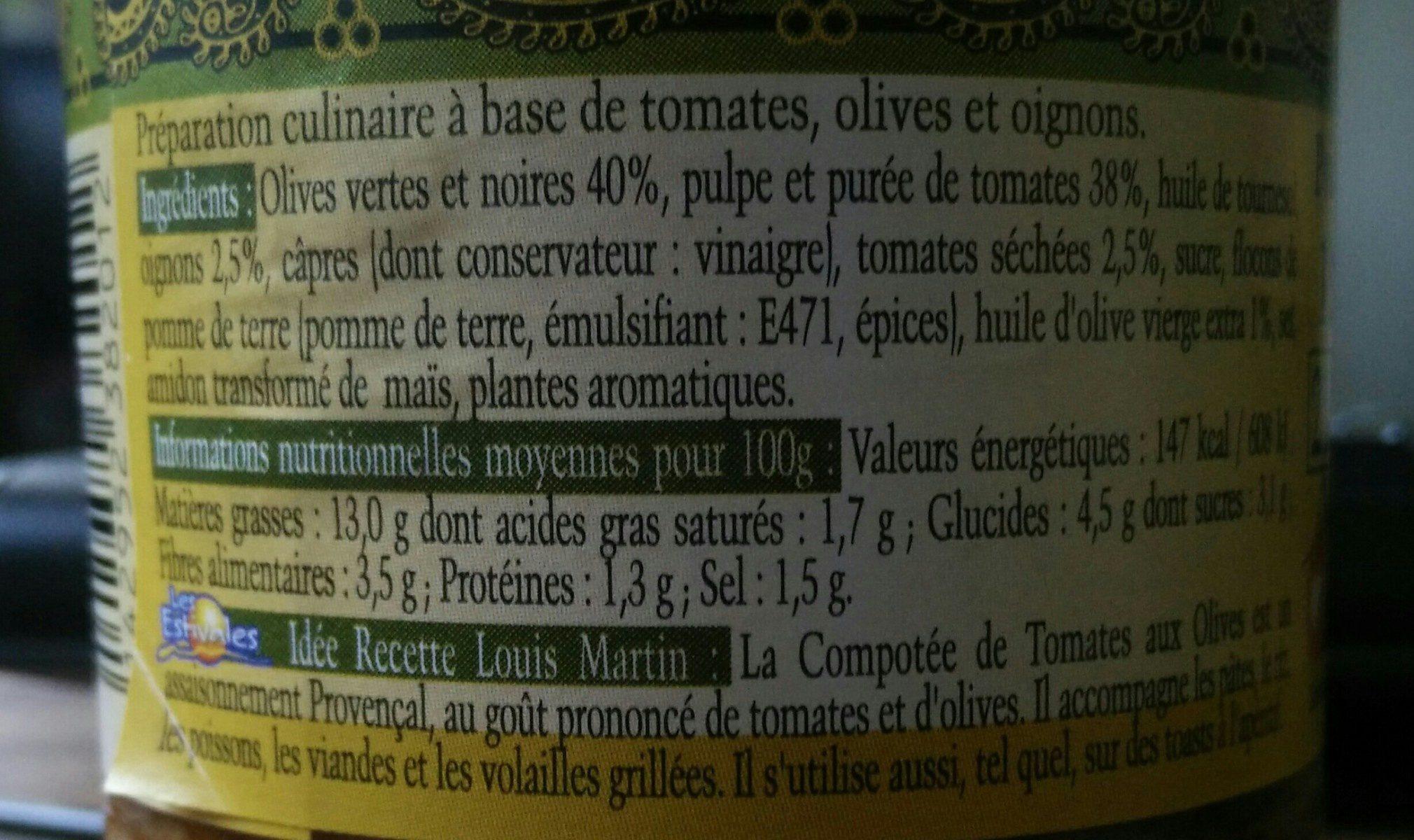 Compotée de tomates aux olives Louis Martin - Ingrédients - fr