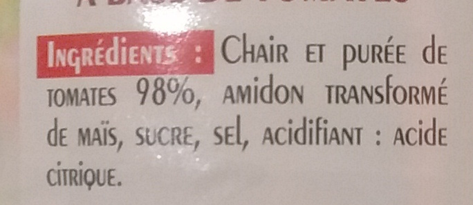Chair de Tomate - Ingrédients - fr