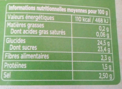 Tomate ketchup - Informations nutritionnelles - fr