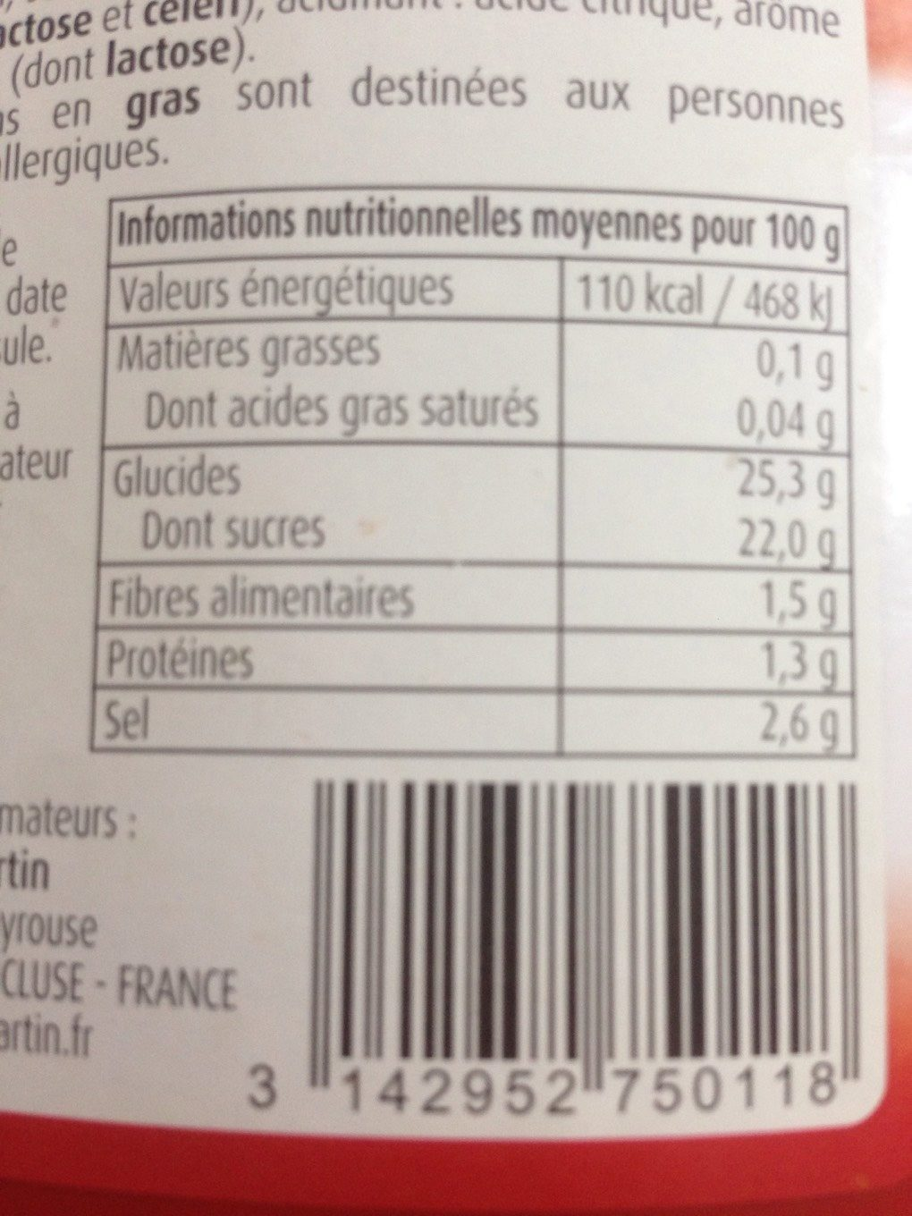Tomato Ketchup Louis Martin 560 GR - Informations nutritionnelles - fr