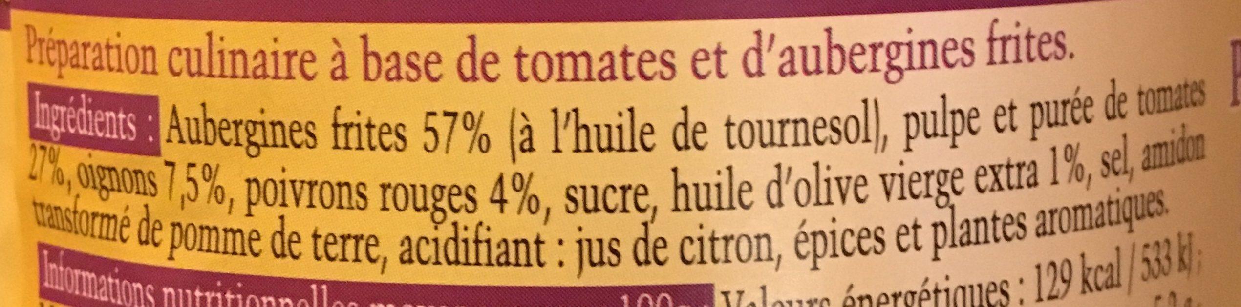 Aubergines à la provencales - Ingrédients
