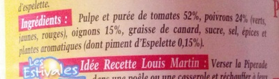 Piperade au Piment d'Espelette - Ingrédients - fr