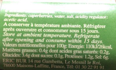 Fleurs de capres - Ingrédients - fr
