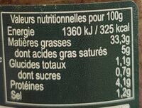 Tapenade d'olives noires ERIC BUR - Nutrition facts - fr