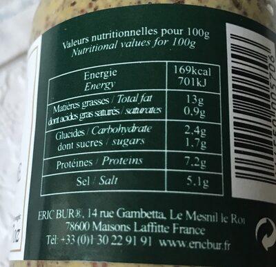 Moutarde a l'ancienne au vinaigre de cidre - Ingrediënten
