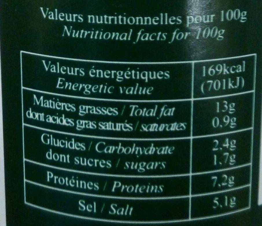 Moutarde a l'ancienne au vinaigre de cidre - Voedigswaarden