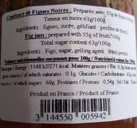 Confiture Extra Figue noires - Informations nutritionnelles