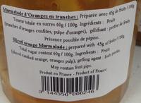 Marmelade d'oranges en tranches - Nutrition facts - fr