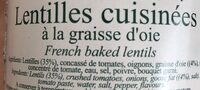Lentilles cuisinées - Ingredients - en
