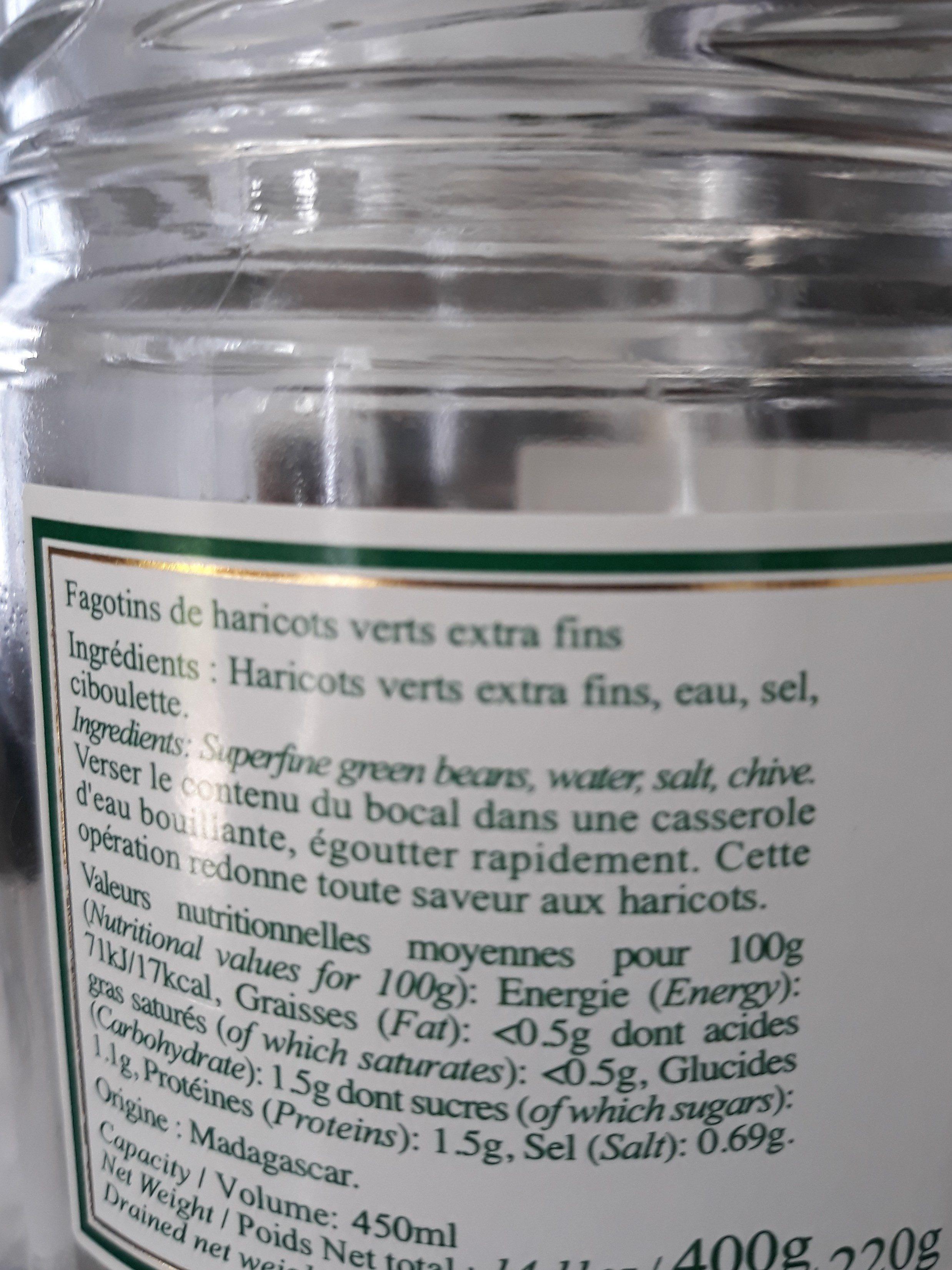 Haricots verts extra fins - Ingrédients - fr