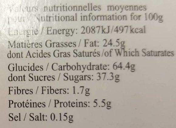 Sablés aux Raisins - Informations nutritionnelles
