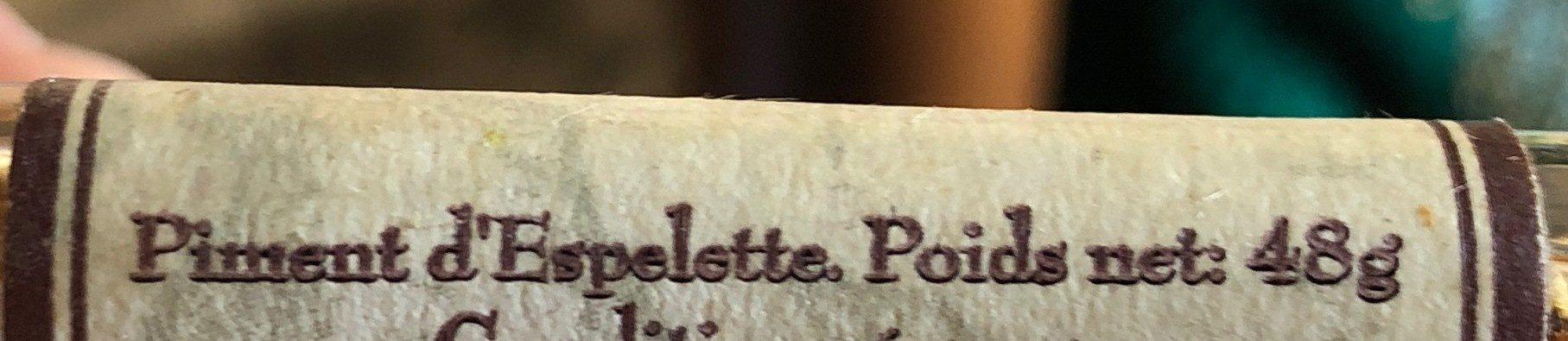 Piment d'Espelette AOC ERIC BUR - Ingrediënten - fr