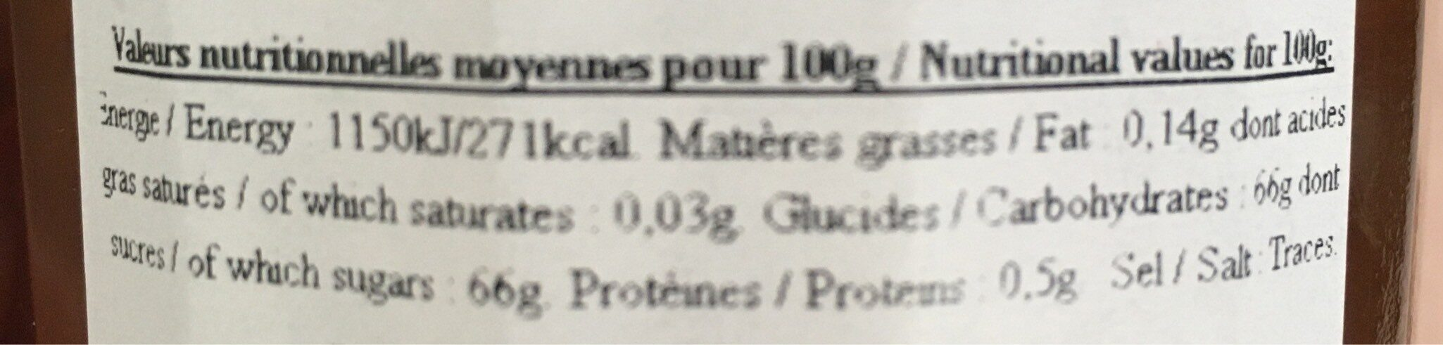 Marmelade d'oranges amères - Informations nutritionnelles - fr