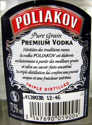 Premium Vodka - Ingrédients