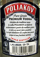 Poliakov - Ingrediënten