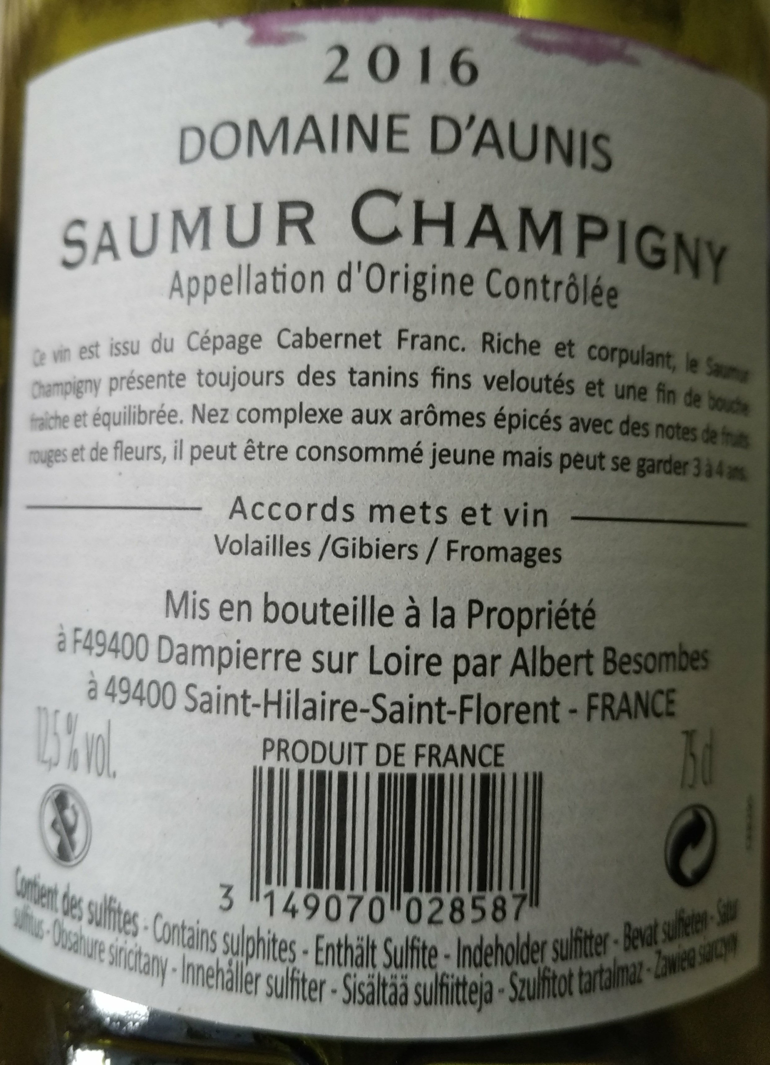 Saumur Champigny - Nutrition facts - fr