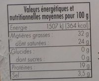 Roquefort (32 % MG) - Informations nutritionnelles